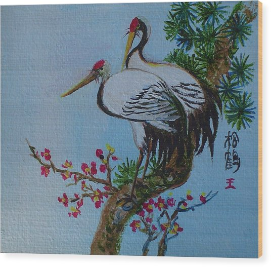Asian Cranes 4 Wood Print by Min Wang
