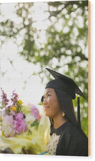 Asian Girl In Graduation Cap Wood Print by Gillham Studios