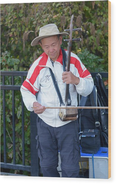 Street Musician Playing Erhu Wood Print by Connie Fox