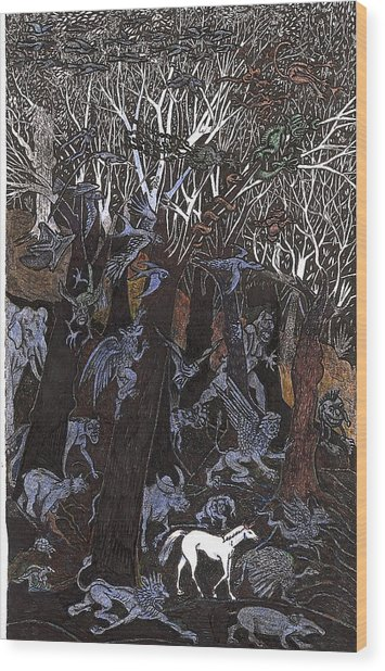 Asil In Shitaki Forest Wood Print