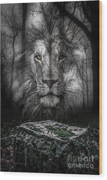 Aslan And The Stone Table Wood Print