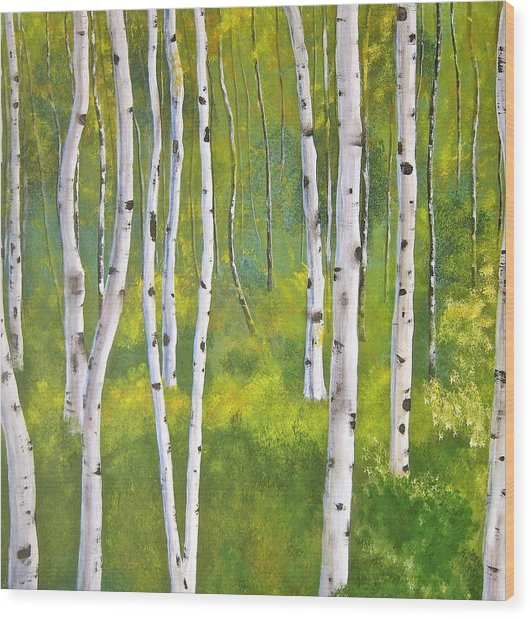 Aspen Forest Wood Print by Heather Matthews