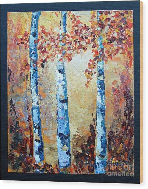 Aspens In Glow Wood Print