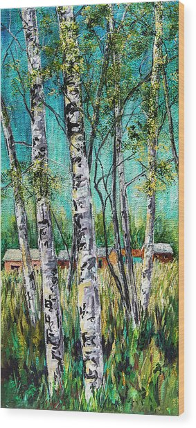 Aspens On The Farm Wood Print