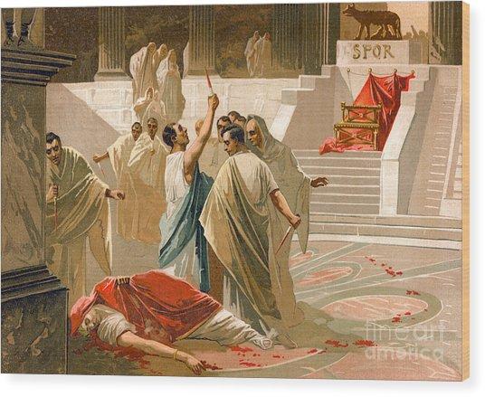 Assassination Of Julius Caesar Wood Print