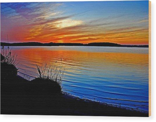 Assawoman Bay At Sunset Wood Print