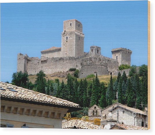 Assisi Italy - Rocca Maggiore Wood Print by Gregory Dyer