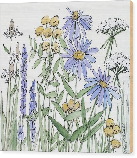 Asters And Wildflowers Wood Print