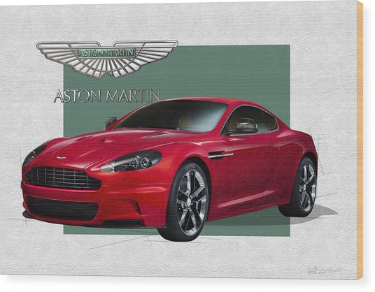 Aston Martin  D B S  V 12  With 3 D Badge  Wood Print
