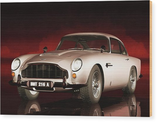 Wood Print featuring the painting Aston Martin Db5 by Jan Keteleer