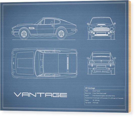 Aston Martin V8 Vantage Blueprint Wood Print