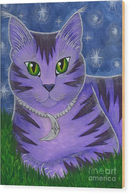 Astra Celestial Moon Cat Wood Print