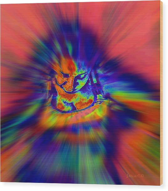 Astral Flight While Awake Wood Print by Fania Simon