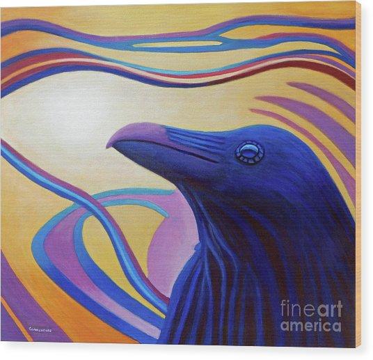 Astral Raven Wood Print