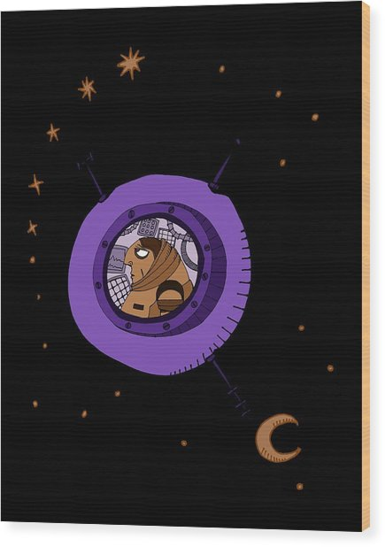 Astronaut In Deep Space Wood Print