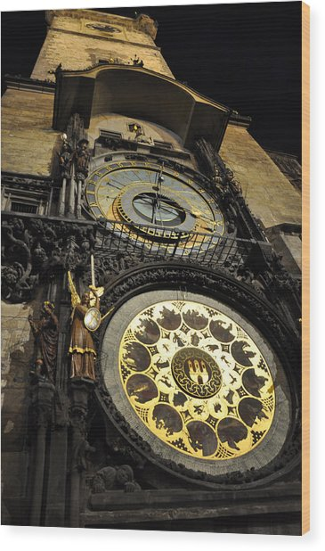 Astronomical Clock Wood Print by Heidi Pix