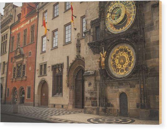 Astronomical Clock In Old Prague Wood Print