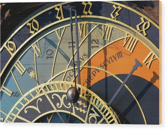 Astronomical Clock Prague Wood Print