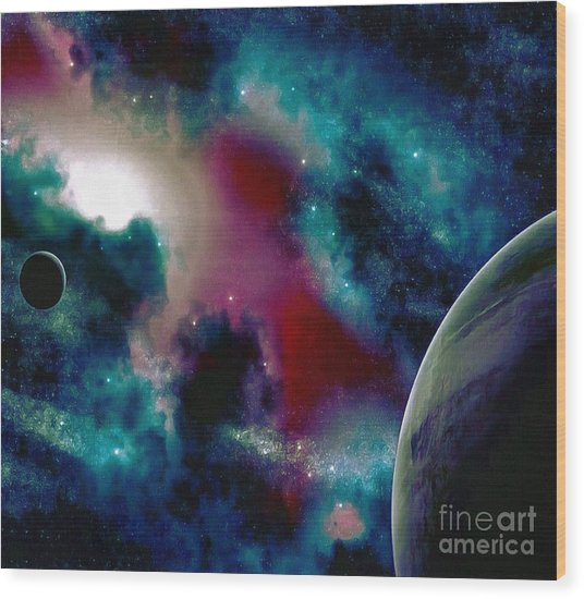 Astronomy Painting Glammed Out Teal Wood Print