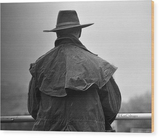 At Home On The Range #3 Black And White Wood Print