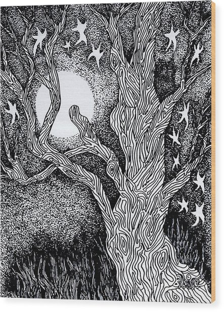 At Night Beside The Twisted Tree Wood Print