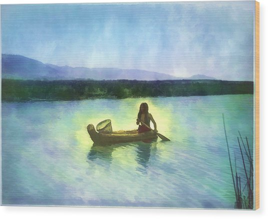 At Peace On The Water Wood Print