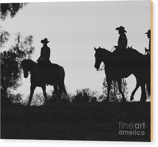 At Sunset On The Ranch Wood Print