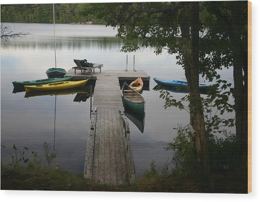 At The Country Dock Wood Print by Dennis Curry