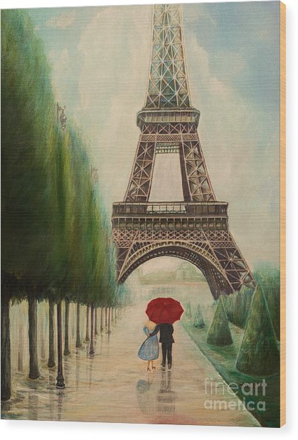 At The Eiffel Tower Wood Print