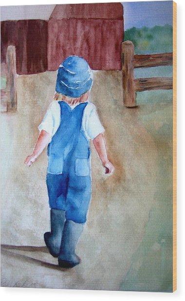 At The Farm Wood Print by Pat Vickers