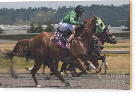 At The Races Wood Print by Ronald Hanson