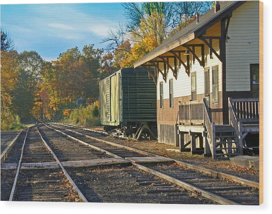 At The Station Wood Print by Gerald Mitchell