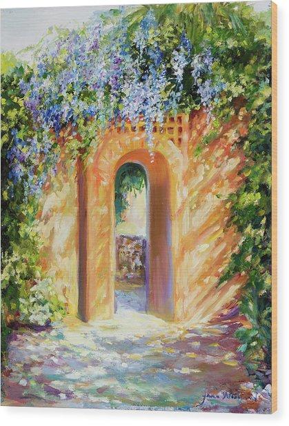 Atalaya With Wisteria Wood Print by Jane Woodward