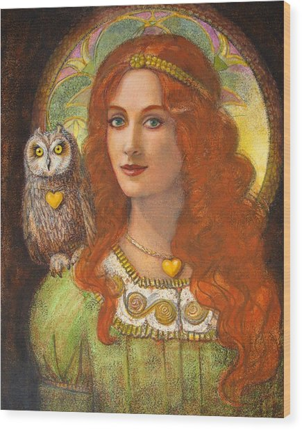 Athena And Her Owl- Wise Ones Wood Print