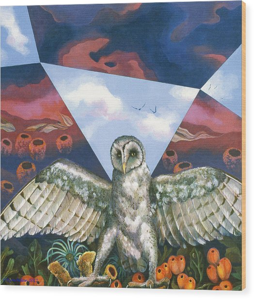 Athena's Owl Wood Print