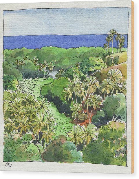 Atiu Lake View Wood Print