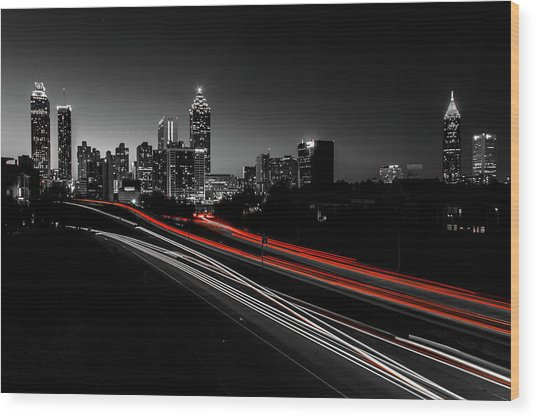 Atlanta Black And White Wood Print