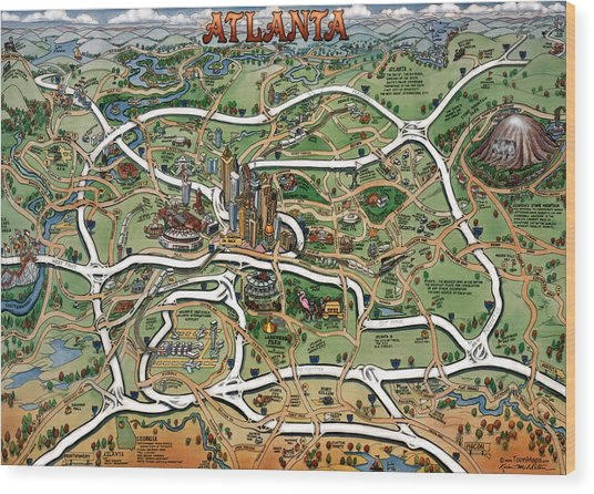 Atlanta Cartoon Map Wood Print