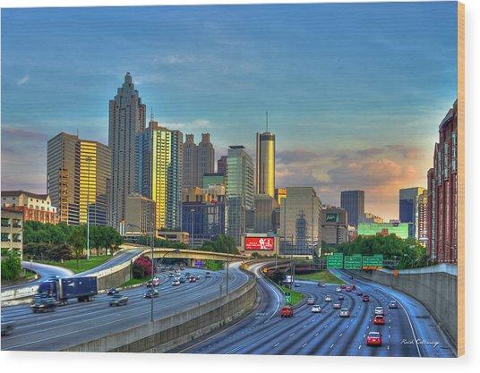 Atlanta Coca-cola Sunset Reflections Art Wood Print
