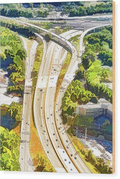 Atlanta Highways Wood Print