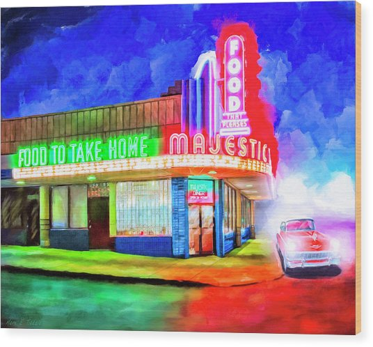 Wood Print featuring the mixed media Atlanta Nights - The Majestic Diner by Mark Tisdale