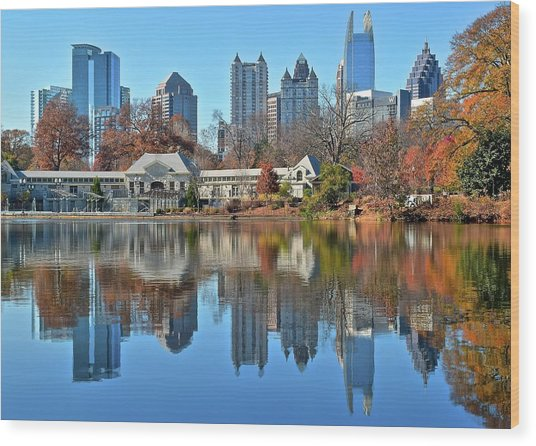 Atlanta Reflected Wood Print