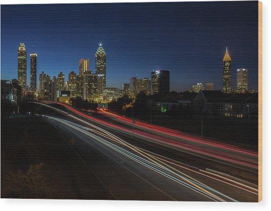 Atlanta Skyline 2 Wood Print