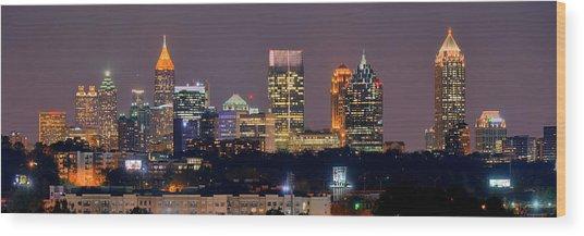 Atlanta Skyline At Night Downtown Midtown Color Panorama Wood Print