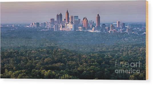 Atlanta Skyline Wood Print