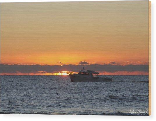 Atlantic Ocean Fishing At Sunrise Wood Print