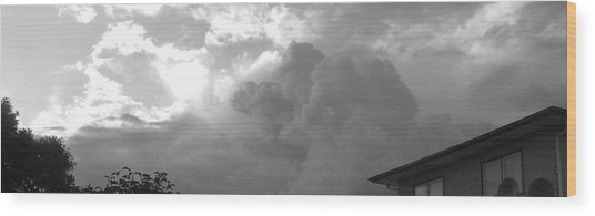 Atmospheric Barcode 19 7 2008 16 Version Bw Wood Print by Donald Burroughs