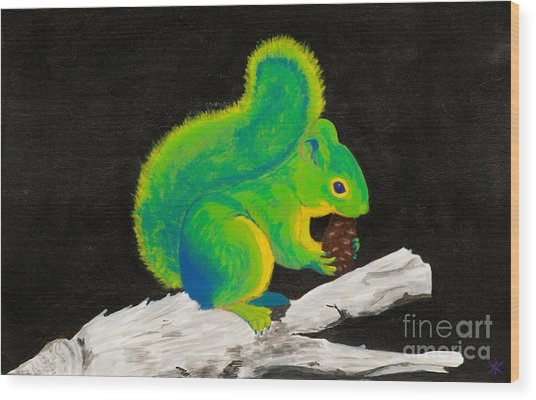 Atomic Squirrel Wood Print