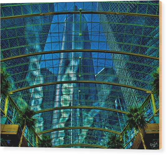 Atrium Gm Building Detroit Wood Print
