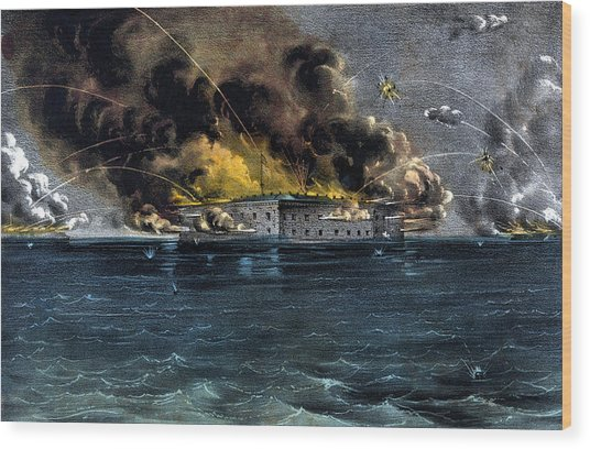Attack On Fort Sumter Wood Print